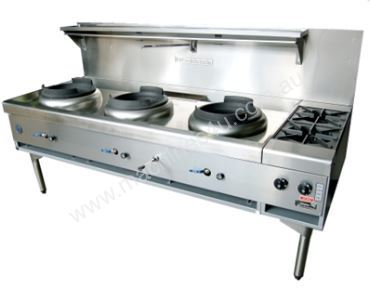 Waterless Triple Wok 2 Side Burners