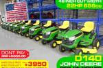 48 INCH Cut width D140 Rid-on Mower- Just arrived!
