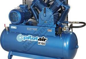 K100 Industrial Pilot Air Compressor 500 Litre / 20hp 81.6cfm / 2311.4lpm Piston Displacement