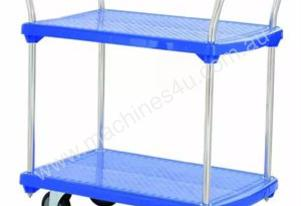 2 Tier Trolley with Plastic Shelves,Steel Handles