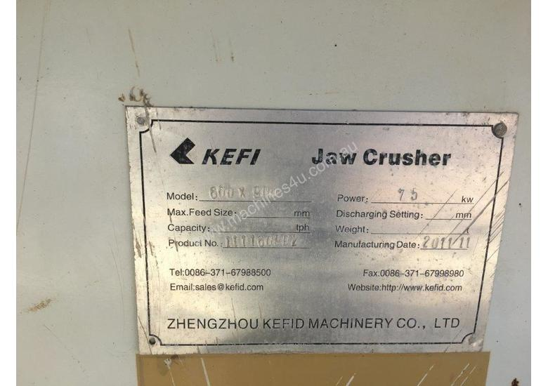 Kefid 600 x 900 Jaw Crusher with 75kW motor