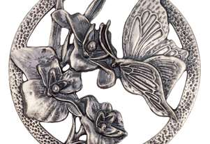Carbatec Pewter Lid - Butterfly