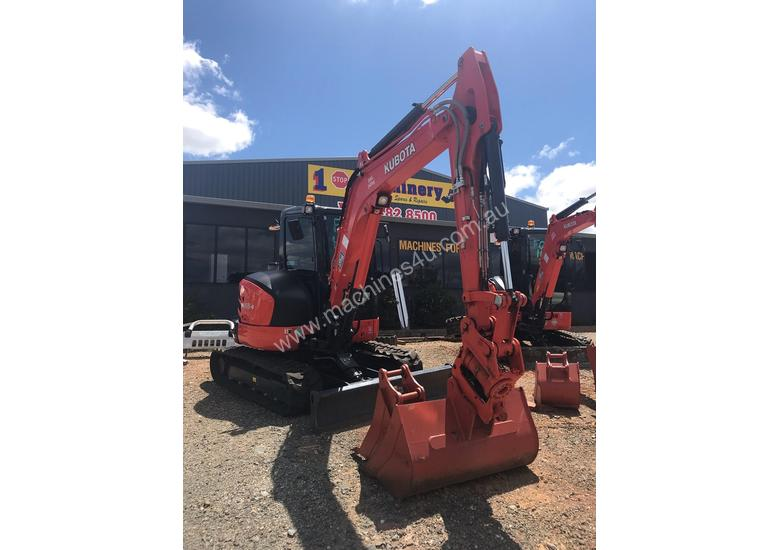 For Dry Hire Near New Kubota U55-4 Excavator with Power Tilting Head, Buckets & Ripper, Air Cond Cab