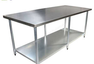 2440 X 760MM STAINLESS STEEL BENCH #304 GRADE