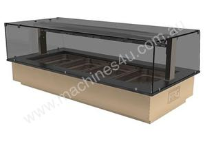 FPG GNH03-GT-SO-F Heated Food Cabinet with Gantry & Flat Serve Over Glass - 3 Pan