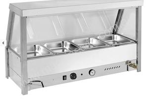 F.E.D. BM4SS Heated Wet Four ' ½ Pan Bain Marie Angled Countertop Display