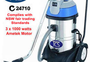 TCS 80L Commercial Industrial Wet & Dry Vacuum Cleaner with 3 x 1000w Ametek Motors