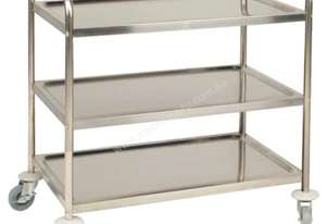 Vogue 3 Tier Flat Pack Trolley St/St 855Lx535Wx940mmH
