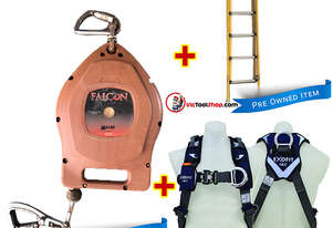 Branach Extension 3.3 to 5.2m Fibreglass Ladder, Fall Arrestor and Exofit Safety Harness