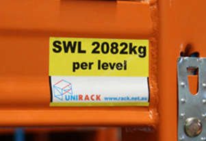 Unirack Safe Working Load Sticker