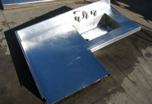 Large Commercial Stainless Steel Corner Sink Table