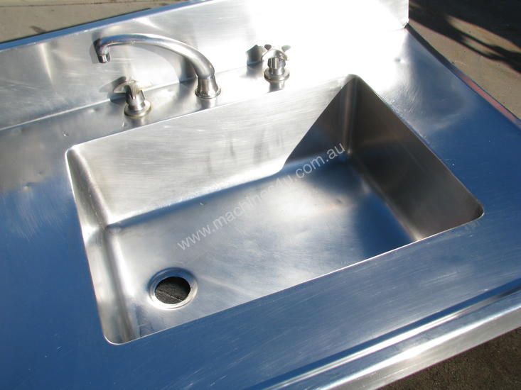 Used Large Commercial Stainless Steel Corner Sink Table