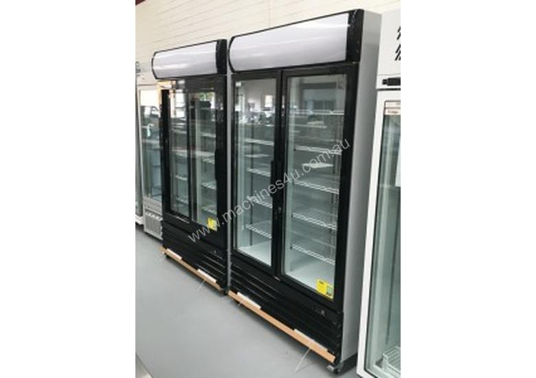 F.E.D Two Door Upright Display Fridge - Black Front - LG-1000BG