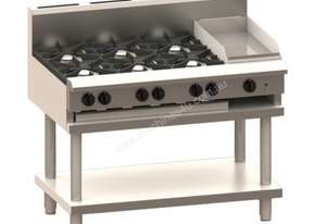 Luus CS-6B3C 1200mm Cooktop with 6 Burners, 300mm Chargrill & Shelf Professional Series