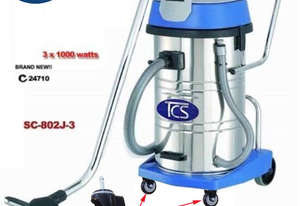 TCS Commercial 80L Wet & Dry Vacuum Cleaner 3x1000W Ametek Motor with Ball Bearing Wheels