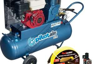 K17P Petrol Driven Pilot Air Compressor, 15 Metres Hose & Filter Regulator Package Deal 100 Litre /