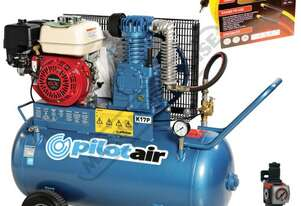K17P Petrol  Powered Pilot Air Compressor, 15 Metres Hose & Filter Regulator Package Deal 100 Litre