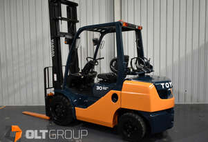 Toyota 8FG30 3 Tonne Forklift LPG / Petrol 4500mm Lift Height Current Model Low Hours