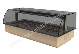 FPG GNH04-GT-SO-C Heated Food Cabinet with Gantry & Curved Serve Over Glass - 4 Pan