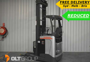 Nissan 1.6 Tonne Ride Reach Truck 7.95m Lift Height Low Hours Electric Forklift Sydney