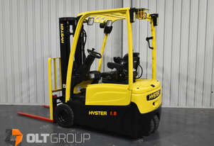 Hyster J1.8XNT Electric Forklift 1.8 Tonne 3 Wheel 4.6m Lift Height Low Hours Current Model