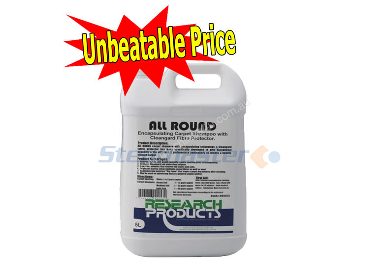 Research All Round 5L Carpet Cleaning Detergent Chemicals Accessories