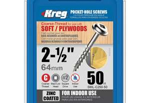 Kreg Pocket Screws 2-1/2 Coarse Thread - 50pc