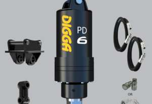 Digga PD6 auger drive With Hoses, Couplers and Double Pin Hitch
