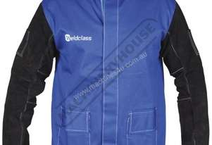 WC-04658 Promax Blue FR Welding Jacket Size: L - Large Lighter & Cooler than Full Leather, with Leat