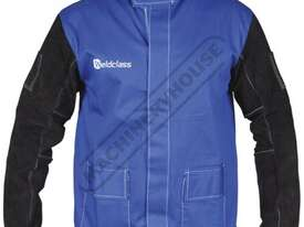 WC-04658 Promax Blue FR Welding Jacket Size: L - Large Lighter & Cooler than Full Leather, with Leat - picture0' - Click to enlarge