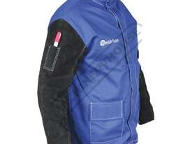 WC-04658 Promax Blue FR Welding Jacket Size: L - Large Lighter & Cooler than Full Leather, with Leat - picture2' - Click to enlarge