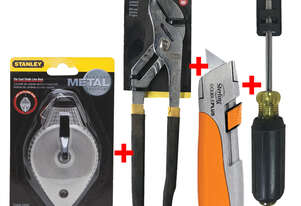 Stanley Tool Set with Chalk Line, Stanley Knife, Multi Grip Pliers and Screwdriver