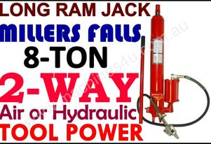 JACK 8-ton MILLERS FALLS, Long ram AIR & HYDRAULIC