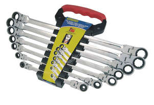 A89801 - 7 PC EXTRA LONG DOUBLE RING FLEX-HEAD RATCHET SPANNERS