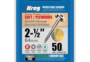Kreg Pocket Screws 2-1/2 Coarse Stainless Steel - 50pc
