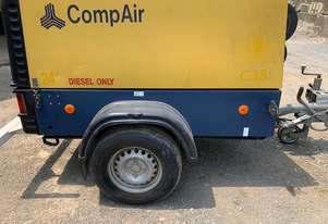 Compair C38 130 cfm portable diesel powered air compressor on 2 wheel road tow chassis
