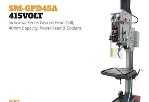 Industrial Series Geared Head Drill - 45mm, Power Head, Coolant