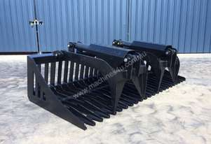 UNUSED SKID STEER 1830MM FLAT BAR HYDRAULIC GRAPPLE RAKE BUCKET