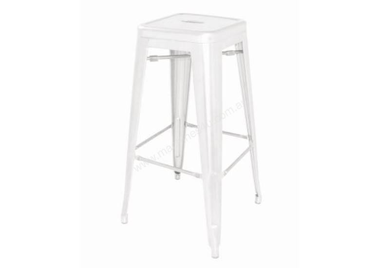 White Steel Bistro High Stools (Pack of 4)