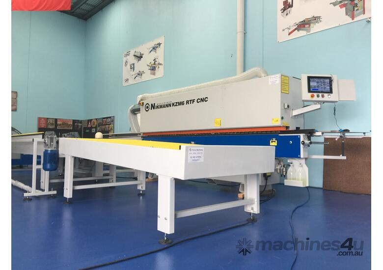 NikMannKZM6-RTF-cnc-v14 edgebander with corner rounder, pre-milling, spray and return conveyor
