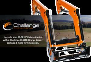Match your Kubota 50-90 HP farming tractor with a new Challenge CL334X-Orange front-end loader