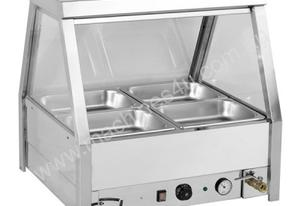 F.E.D. BM4TD Heated Wet Four ' ½ Pan Bain Marie Angled Countertop Display