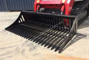 UNUSED 1980MM FLAT BAR SKID STEER RAKE BUCKET WITH UNIVERSAL HITCH