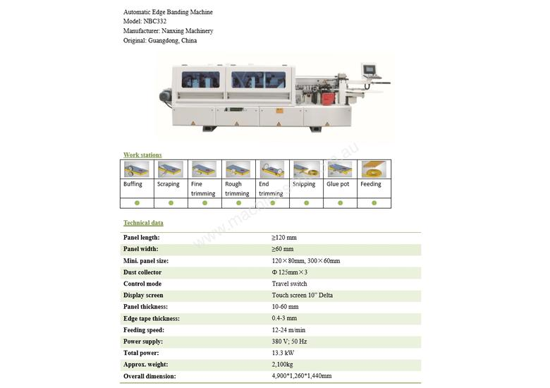 NANXING Automatic Edge Banding Machine with separate Corner Rounding Machine NBC332