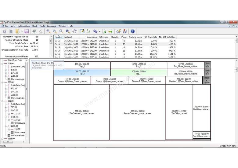 Sheet and bar optimisation with CNC connection