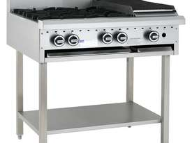 4 Burner 300mm Chargrill Cooktop with legs & shelf - picture0' - Click to enlarge