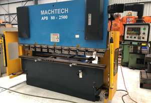 Used Machtech APB 80-2500 NC Pressbrake. With light curtains, tooling & 2-axis NC control