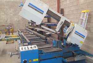 Parkanson Bandsaw with free roller conveyor and roller stands