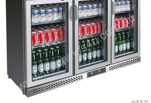 F.E.D. BC03SP Three Door BLACK MAGIC S/Steel Bar Cooler