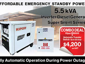 5.5kVA Kipor Inverter Generator plus ATS up to 125 Amp - picture0' - Click to enlarge